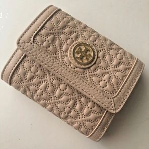 "TORY BURCH ""BRYANT"" Pale Pink Leather Wallet"